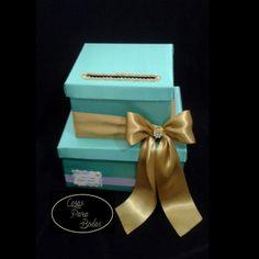 CA_180 Caja para Sobres Aguamarina Dorado Lila para #15años