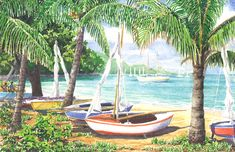 Peapods by Anne Miller, x watercolour print Watercolor Print, Outdoor Furniture, Outdoor Decor, Hammock, Caribbean, Watercolours, Gallery, Boats, Painting