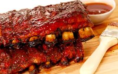 Slabs of BBQ Spare ribs. Two slabs of delicious BBQ spare ribs with dipping sauc , Rib Recipes, Slow Cooker Recipes, Crockpot Recipes, Cooking Recipes, Cooking Pork, Chicken Recipes, Baked Bbq Ribs, Barbecue Ribs, Baked Pork