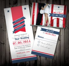 Awesome Fourth Of July Patriotic Wedding Invitation