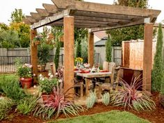 The Yardcore crew turn this blank slate of a backyard into a work of art with a sturdy farmhouse-style dining table shaded by a massive pergola. Behind the table, a copper water feature provides a relaxing soundtrack while stately Arborvitae add privacy and hardy purple variegated fountain grass, lavender and potted patio roses add color.