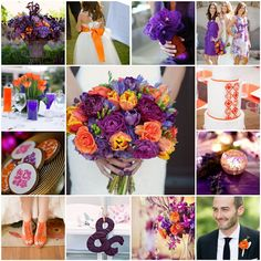 orange purple plum wedding