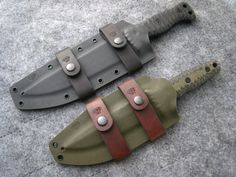 Miller Bros. Blades (MBB) M-5 & M-15 Fixed Blade knives with Scout Carry / Horizontal belt straps. Available in Z-Wear, CPM 3V or CPM S35VN steel . Custom Handmade Swords, Knives & Tomahawks/Axes www.millerbrosblades.com
