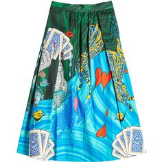 Mary Katrantzou Printed Cotton Midi Skirt ($695) ❤ liked on Polyvore featuring skirts, multicolored, patterned skirts, blue metallic skirt, multi color skirt, cotton skirts and print skirt