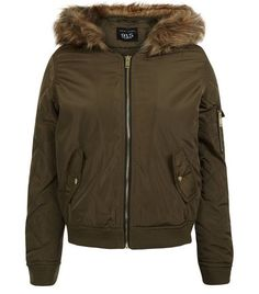 Teens Khaki Faux Fur Hooded Bomber Jacket   New Look Faux Fur Jacket, Faux  Leather 3dc567ed31fb