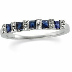 Sapphire and Diamond Anniversary Band 14k White Gold