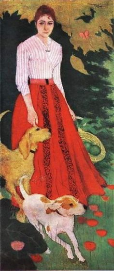 Pierre Bonnard (1867-1947) Mlle Andree Bonnard with Her Dogs