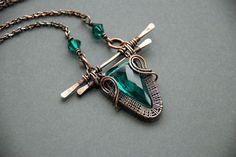 Wire wrapped pendant copper pendant green pendant christmas gift unique jewelry