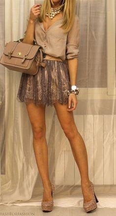 #winter #fashion /  Beige Shirt + Tulle Skirt