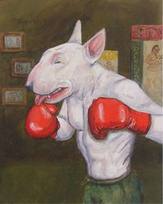 The Welterweight Boxing Bull Terrier art print par spearmintjoe Chien Bull Terrier, Bull Terrier Funny, Bull Terrier Tattoo, Caricatures, Nanny Dog, Bullen, Bully Dog, English Bull Terriers, Best Dog Breeds