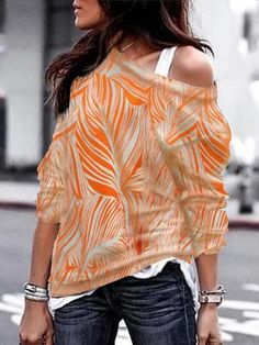 Plus Size Women One Shoulder Blouse Sweatshirt Long Sleeve Sweater Pullover Tops Geometric Fashion, Spring Shirts, T Shirts For Women, Clothes For Women, Casual Clothes, Long Sleeve Sweater, Plus Size Women, Elegant, Types Of Sleeves