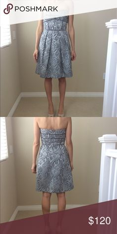 Silver built in corset dress Silver built in corset knee length dress.  Embroidered.  Perfect for any occasion. Cynthia Steffe Dresses Strapless