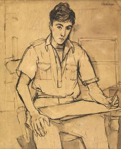 Francis John Minton Self-Portrait Pen, ink and wash; signed and dated 1950 x inches Provenance: Acquired from John Minton's studio in the where it hung. John Minton, Selfies, Pen And Wash, English Artists, Royal College Of Art, Close My Eyes, Gay Art, Life Drawing, New Artists