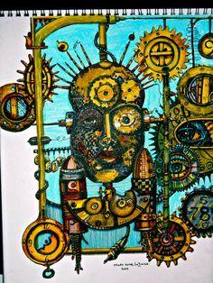 Steampunk Art Prints by Mary Vogel Lozinak    Head Adjustment   srajd zentangle zen tangle Standard size for frame