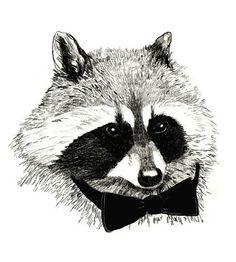 Black Tie - Raccoon Art