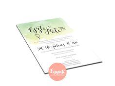 Zöld-fehér vízfesték hatású esküvői meghívó | Green and white Watercolor Wedding Invitation