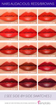 NARS Audacious Lipstick Comparisons ~ Reds/Browns, Pinks, Corals, Muted