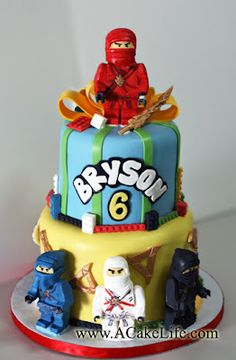 Ninjago Themed tier cake @Tammy Vogler  We would want the green ninja, Lloyd featured though.  Just an idea.