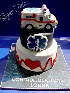 EMS Graduation Cake - by SugarTales @ CakesDecor.com - cake decorating website
