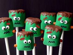 17 Creepy-Cute Treats to Make for Halloween | FRANKENSTEIN MARSHMALLOWS | Sometimes the best party snacks are the best activities, too – get everyone to craft their own marshmallow Frankenstein (that is, if they can resist eating all the ingredients first.)