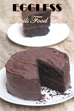 Eggless Devils Food Cake Recipe - Christmas Special Recipes Best Ever Chocolate Cake, Eggless Chocolate Cake, Amazing Chocolate Cake Recipe, Chocolate Flavors, Chocolate Desserts, Carrot Banana Cake, Rich Cake, Cake Shapes, Devils Food