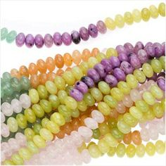 #Gemstone #Beads Mix 6mm Rondelle Beads/15.5 Inch Strand #Jewelry #DIY #Easter - Beadaholique.com