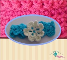 Modelo N° 18: Diademas arcos con flor de 7 petalos plana tejida a crochet