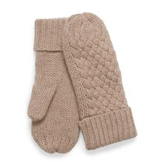 Cashmere touch basket knit mittens found on Polyvore featuring accessories, gloves, cashmere gloves, knit mittens, knit gloves, mitten gloves and cashmere mittens