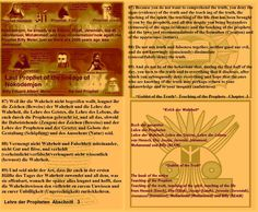 87) Because you do not want to comprehend the truth, you deny the signs (evidence) of the truth and the teach ing of the truth, the teaching of the spirit, the teaching of the life that has been brought to you by the prophets, and all this despite you being bystanders (witnesses) of the signs (evidence) and the teaching of the prophets and the laws and recommendations of the formation (Creation) and of the appearance (nature). 88) Do not mix truth and falseness together, neither good nor