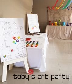 kids art party - love the canvas drop cloth table cloths fruit loop necklace Kids Art Party, Craft Party, Art Kids, Art Party Activities, Party Games, Art Birthday, 2nd Birthday Parties, Birthday Ideas, Kid Parties