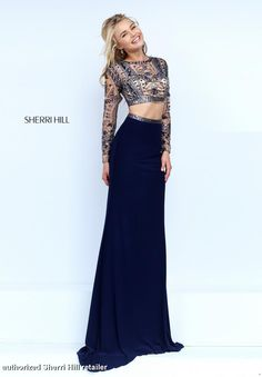 50097 Sherri Hill prom pageant spring 2016 dress gown 2 piece crop top long sleeves