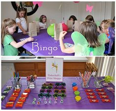 tinkerbell party ideas- like the place settings with a tea cup with a flower glued to it and wands at each setting. Has good game ideas too!