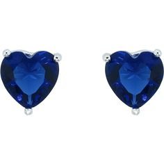 18K White Gold Plated Colorful Heart Studs: Sapphire (£3.76) ❤ liked on Polyvore featuring jewelry, earrings, blue, jewelry & watches, gold plated earrings, blue earrings, colorful stud earrings, white earrings and heart earrings