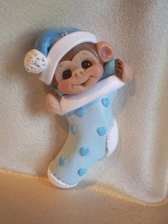 Baby Baby's first Christmas Ornament monkey animal children Personalized Polymer Clay Baby Gift. $15.75, via Etsy.