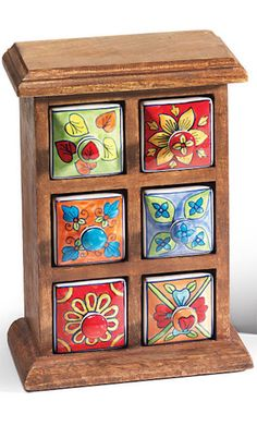 6 Drawer Ceramic Storage Chest, Mango Wood > Ceramic Storage Chests & Kitchenware > Home & Gifts > Namaste Fair Trade > Namaste-UK Ltd Wood Storage, Storage Chest, Wood Chest, Small Drawers, Outdoor Kitchen Design, Cool House Designs, Hand Painted Ceramics, Ceramic Painting, Soft Furnishings