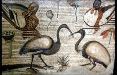 Roman mosaic work in ancient Pompeii.  Archaeological Museum, Naples, Italy