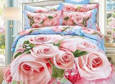 Excellent 3D Pink #Rose Print Cotton 4-Piece #Bedding Sets