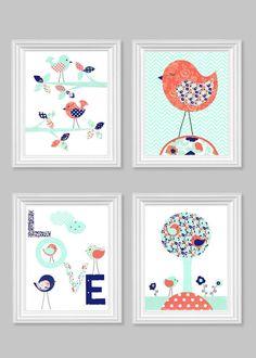 Bird Nursery Art Baby Girl's Room Decor by SweetPeaNurseryArt Bird Nursery, Nursery Wall Decor, Nursery Prints, Nursery Art, Baby Girl Room Decor, Baby Decor, Bird Wall Art, Big Girl Rooms, Baby Shower Gifts