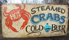 Chesapeake Bay  Blue Crabs  Signwood  by ZekesAntiqueSigns on Etsy, $105.00