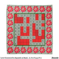 Love Crossword in Spanish on Bandana