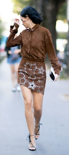 Brown on brown suede with silver embellishments