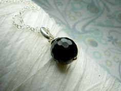 Honest Onyx - black onyx round gemstone sterling silver necklace. $22.00, via Etsy.