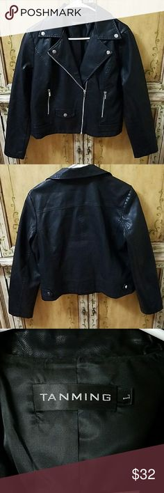 Tanming Faux Leather Jacket Used, Excellent Condition, size Large, Black, Faux Leather, only worn a few times Tanming Jackets & Coats