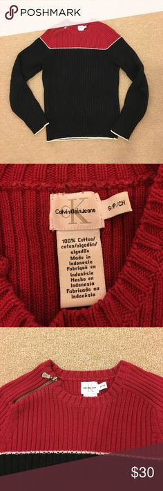 Calvin Klein Cotton Sweater 100% cotton, fairly heavy knit. Has super cute zipper detail at neckline. Form fitting and pairs well with many things! Calvin Klein Jeans Sweaters Crew & Scoop Necks
