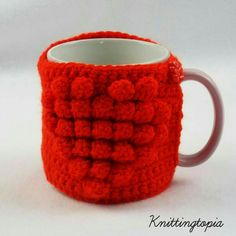 Hand crocheted mug cosy - red heart - valentine's day gift - mother's day gift £3.20