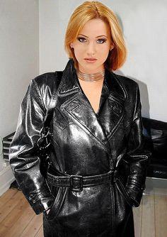 Shiny leathercoat worn by stunning beauty