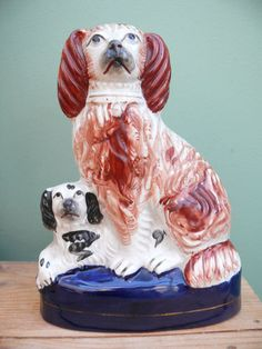 Superb 19thC Staffordshire Figure Modelled as Two Spaniel Dogs | eBay