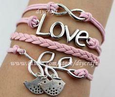 infinity karma bracelet-love bracelet-branch bird bracelet-pink wax cords