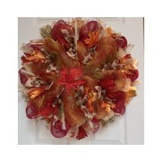 Thanksgiving Christmas Beautiful Maple Leaves Autumn Deco Mesh Wreath 20 Inches