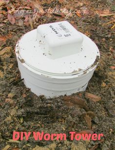 Make this easy Worm Tower and let the worms eat your veggie scraps and turn it into fertilizer right in your garden.